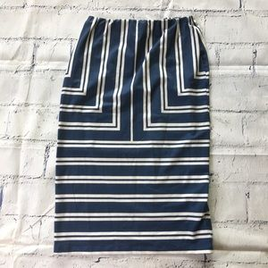 Asos Blue White Stripe Athletic Pencil Skirt